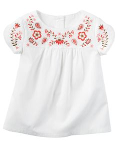 Toddler Girl Embroidered Poplin Top | Carters.com
