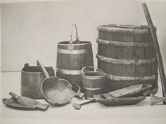 Oseberg ship grave - wooden artifacts - trenchers and buckets