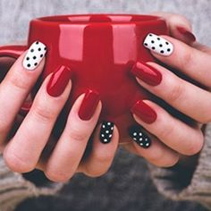 Nail art is a very popular trend these days and every woman you meet seems to have beautiful nails. It used to be that women would just go get a manicure or pedicure to get their nails trimmed and shaped with just a few coats of plain nail polish. Dot Nail Art, Polka Dot Nails, Nail Art Dotting Tool, Nail Art Diy, Diy Art, Fancy Nails, Pretty Nails, Cute Red Nails, Red Nail Designs