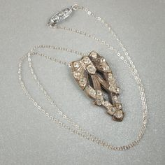 OOAK Necklace-Art Deco 1920s Long Pointed Rhinestone Clip Sterling Silver Chain Bridal Pendant