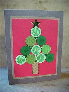 Christmas Dots were stamped, punched out and formed into a tree. Hero stamps used: Christmas Dots Bo Bunny dotted papers Chrismas Cards, Christmas Cards To Make, Xmas Cards, Holiday Cards, Christmas Crafts, Christmas Stuff, Christmas Tree, Hand Made Greeting Cards, Making Greeting Cards