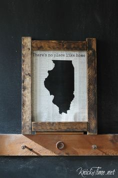 Super quick and easy to make STATE SHAPE wall art on book pages. Tutorial at Knick of Time.