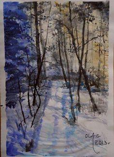 Zimowy las. Akwarela