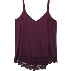 Wet Seal Plus Size Super Soft Crochet-Trim Tank ($18) ❤ liked on Polyvore featuring tops, plus size tank tops, purple tank, purple tank top, v neck tank and spaghetti strap tank tops