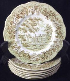 7 J&G Meakin Romantic England B&B Salad Bread Dessert Plates Transferware Green