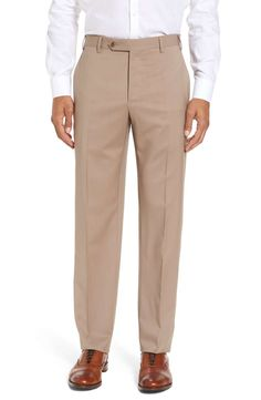 Zanella Devon Flat Front Wool Trousers in Beige Check Grey Flannel Trousers, Beige Pants, Khaki Pants, Cordovan Shoes, Blue Flats, New Man, Clothing Items, Slacks, Devon