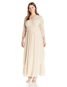 Shimmering sleeve beaded v neck lace gown with flattering soft chiffon long dance skirt Features Scallop edge sleeve Concealed zipper Plus Size Dresses, Plus Size Outfits, V Neck Prom Dresses, Womens Cocktail Dresses, Paisley Dress, Chiffon Gown, Gowns Online, Plus Size Wedding, Elegant Dresses
