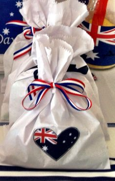 Australia Day party favours Australian Party, Australian Holidays, Party Favours, Party Bags, Australia Day Celebrations, Aus Day, Leaving Party, Happy Australia Day, Aussie Food
