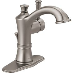 Delta Valdosta Spotshield Brushed Nickel 1-Handle 4-in Centerset WaterSense Bathroom Faucet (Drain Included)