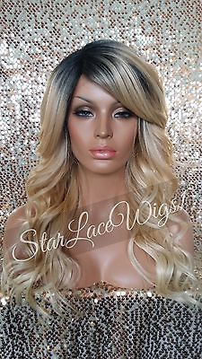 Long Wavy Lace Front Wig Golden Blonde Ombre Mixed Layers Dark Root Heat Safe beautiful wig!  Not a big fan of dark rooted hair but I may have to buy just one! =$63