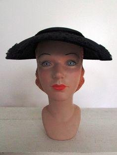 1950s large brim hat / vintage 50s navy blue large brim hat with veil / 1950s Fascinator / Nadine