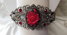 Anitque Silver Filigree Bracelet. Hand Painted Red Shimmer Pearl Rose on Black Cameo with Swarovski Crystal Accents