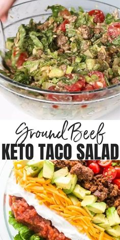 Taco Salad Recipes, Healthy Salad Recipes, Diet Recipes, Easy Taco Salad Recipe, Keto Taco Salad, Healthy Cheap Recipes, Whole 30 Easy Recipes, Taco Salad Dip, Vegetarian Taco Salad