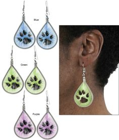 Every Purchase Funds Food and Care for Rescued Animals.  Paw Print Thread Earrings