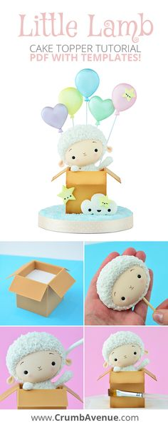 Cute Little Lamb Cake Topper TUTORIAL - PDF with TEMPLATES /cakes for kids, baby shower, boy, girl, boys, girls, idea, ideas, easy to follow, step by step, pastel colors, balloons, box, gift, pop out, sheep, figure, figurine, fondant, gum paste, up up and away, air balloon,themed, birthday, fly high little one