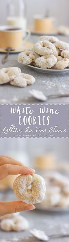 White Wine Cookies - Rollitos de Vino Blanco are delicious sweet treats. If you haven't tried them yet, here is your chance. They are easy to make & fast to bake. Simple ingredients and ready in 30 minutes. #winecookies #spanish #dessert #baking #recipes #sweet #cookies #holidaybaking #spanishdessert via @happyfoodstube