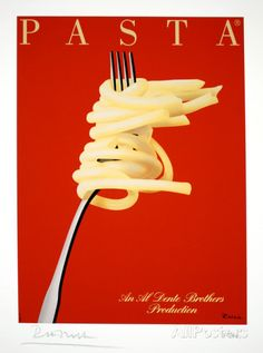 I do love me some pasta! Vintage Poster by Razzia Vintage Food Posters, Vintage Food Labels, Vintage Italian Posters, Vintage Recipes, Vintage Ads, Poster Vintage, Pasta Al Dente, Kitchen Posters, Macaron