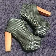 Black Jeffrey Campbell Woven Style Lita Boots 8M Boots in great condition worn me 3x   Heel length a little under 5 in. Jeffrey Campbell Shoes Heeled Boots