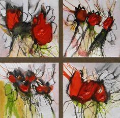 abstrakte Malerei, abstrakte Kunst, Herbstgruß, je Bild, 10/10 cm