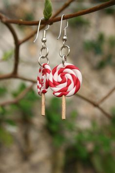 Polymer clay (fimo) swirl lollipop earrings