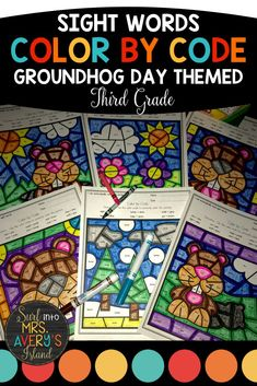 "Groundhog Day is such a FUN day, and these no prep color by sight word worksheets are perfect for morning work, literacy centers, fast finishers, inside recess, etc.  If your third grade students need extra practice mastering their sight words to increase their reading fluency, these differentiated printables are guaranteed NOT to disappoint!  Beware... your students will be BEGGING you for more ""fun sheets""! #thirdgrade #dolchsightwords #frywords #sightwords #colorbycode #groundhogdayideas"