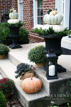 Our fall porch - Porch Decorating Ideas Autumn Decorating, Pumpkin Decorating, Porch Decorating, Decorating Ideas, Decor Ideas, Porch Urns, Front Porch Planters, Fall Containers, Succulent Containers