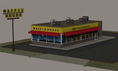 3D Download - The 3D waffle restaurant building and parking lot scene for Poser & DAZ Studio, works great with our 3D convenience store scene.