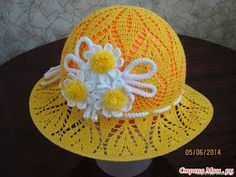 Diy Crafts - Tina's handicraft : kids dress & hats with flower trimming Crochet Summer Hats, Crochet For Kids, Diy Crochet, Crochet Books, Crochet Stitch, Baby Girl Crochet, Crochet Baby Hats, Knitted Hats, Sombrero A Crochet