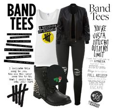 """5sos band tees"" by rehmaomer ❤ liked on Polyvore featuring AMIRI, Hot Topic and LE3NO"