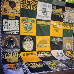 Awesome Baylor T-shirt quilt! This would make such a great graduation gift.