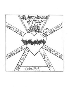 Seven Sorrows and Immaculate Heart of Mary free printables- coloring pages and graphic organizers.Look to Him and be Radiant