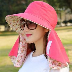 Women Outdoor Gardening Face Neck Sunscreen Wide Brim Beach Hat Double-side Flower Printed Caps - Clothes and accessories - Hut Uv Protection Hat, Hat Patterns To Sew, Sun Hats For Women, Visor Hats, Outdoor Woman, Fashion Face Mask, Woman Face, Looking For Women, Chic Outfits