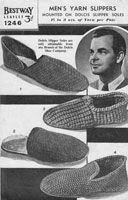 Fabulous mens slipper knitting pattern 1940's. Although ready made soles are used, they can be home made from felt or crocheted or knitted or even cork can be used, or ready made insoles. There are knitted and crocheted designs in this pattern to fit sizes 8, 9, 10, 11 shoe size.