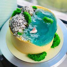 Ocean Cakes, Beach Cakes, Aquarium Cake, Beach Dessert, Island Cake, Fresh Flower Cake, Jelly Cake, Gateaux Cake, Different Cakes