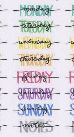 COLORFUL WEEKDAY HEADERS Planner Stickers | Hand Drawn BuJo Style Letras Título