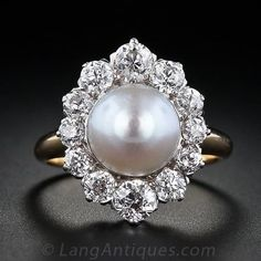Antique Natural Pearl and Diamond Ring - 30-1-3735 - Lang Antiques
