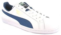 Puma Match Solid Fs Mens/Gents Synthetic And Leather Retro Tennis Shoes/Trainers | White/Ensign | Wynsors