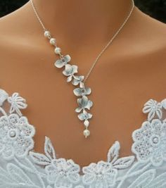 Orchids Necklace  Freshwater Pearls Silver Orchids by LadyKJewelry, $39.00 by eliyalee