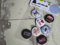 A set of Vampire badges. Working late tonight, these are appropriate #vampires #nocturnal