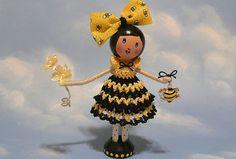 Bee Happy Bree - Clothespin Doll by creatingtreasures, via Flickr