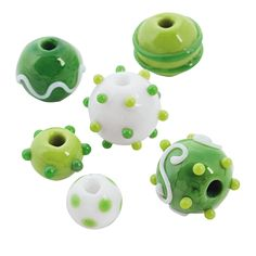 St. Patrick's Day Lampwork Round Beads $8.75 for 24 beads - 10mm-17mm - OrientalTrading.com