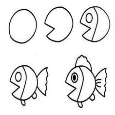 Kolay Balık Çizimi #okuloncesi #okulöncesi #ilkokul #anaokulu #diy #kendinyap…