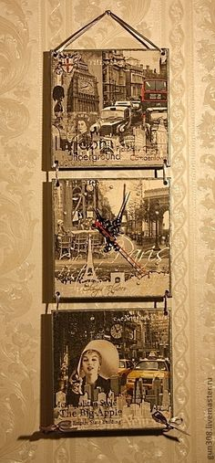 """Часы для дома ручной работы. Ярмарка Мастеров - ручная работа Часы-панно настенные """"Лондон-Париж-Нью-Йорк"""". Handmade."""
