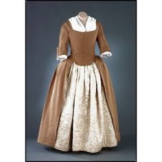 Woman's gown, brown ribbed silk  1760-1780. Would Jane Austen's mother, Cassandra, have worn a similar gown?