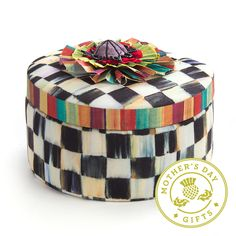 Mackenzie Childs Courtly Check Round Jewelry Box - Fashion in the City