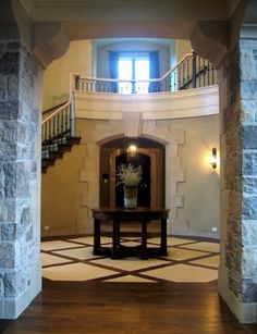 French Country Contemporary Entry with Limestone (Wingelaar Estate Homes)