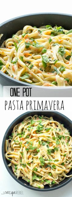 One Pot Pasta Primavera:  A creamy, veggie loaded pasta that comes together easily in only one pot with only 7 ingredients!
