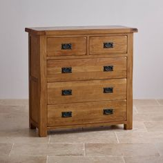 Original Rustic Solid Oak 3+2 Chest of Drawers