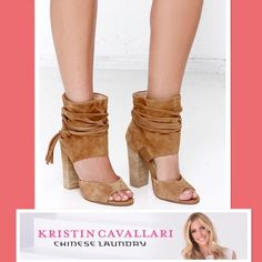 Kristin Cavallari Leigh Bootie By Chinese Laundry The High-Heeled from Kristin Cavallari Is Perfect For Those Transitional Months,,, With Ruching Details,,, Setting The Trends •2pc Suede Upper, •Ruched Ankle-Cuffed w/Decorative Wrap Around Tie, •Instep Elastic Insert For Stretch-Fit, •Leather Lining, •4 1/2 Stacked Heel Chinese Laundry Shoes Ankle Boots & Booties