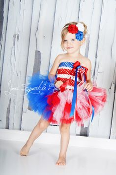 Red, white and blue headband and tutu dress - YourSparkleBox.etsy.com